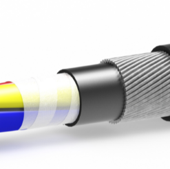 استاندارد: IEC-60502 نوع NYCYRY-NYCYRGY ساختمان : سیم های آنیل شده (کلاس ۱ و ۲) تابیده – عایق و فیلتر شده سپس با سیم مسی شیلد شده و پس از انجام روکش میانی توسط سیم های فولادی و گالوانیزه و یا آلومینیوم حفاظت گشته و در نهایت روکش می شوند. تعداد هادی: ۱-۲-۳-۴ و یا ۵ رشته سطح مقطع اسمی: از ۱٫۵ تا ۳۰۰ میلیمتر مربع رنگ: مطابق استاندارد مربوطه و یا طبق سفارش مشتری. مور مصرف: برای برق فشار ضعیف در داخل ساختمان و یا محل های سرپوشیده و نیز خارج ساختمان، در محل های مرطوب و در زیر خاک و نیز در محل هایی که احتمال صدمات مکانیکی وجود دارد.